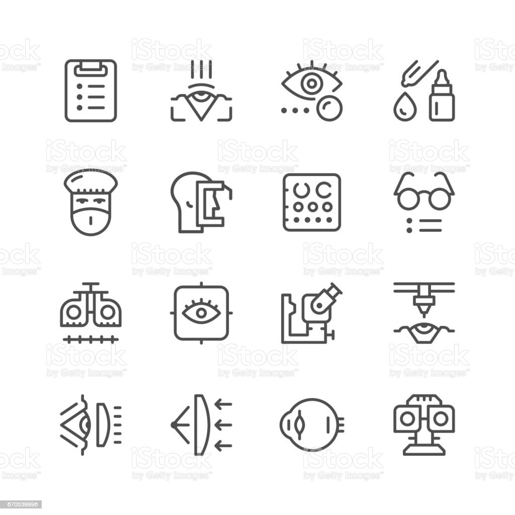 Set line icons of ophthalmology vector art illustration