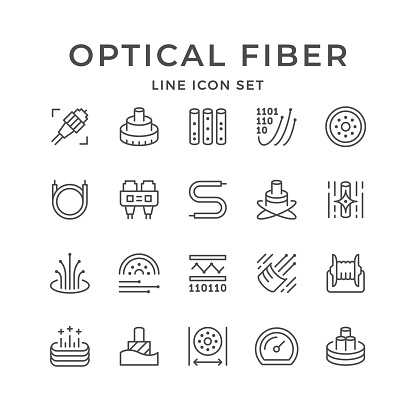 Set line icons of optical fiber isolated on white. Cable, plug, wire, cord, broadband connection, information transfer. Vector illustration