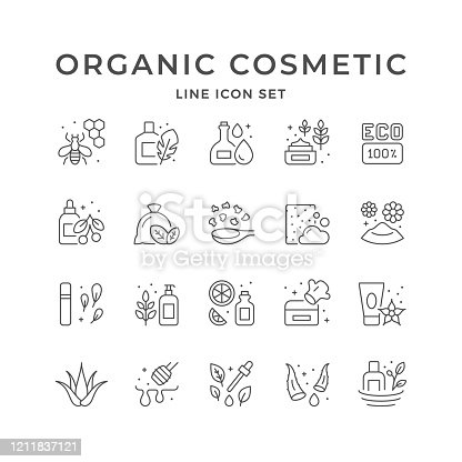 Set line icons of organic cosmetic isolated on white. Natural product, aloe vera, eco sign, essential oil, honey cosmetology, skincare. Vector illustration
