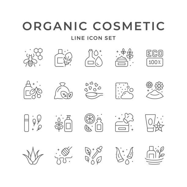 set line icons of organic cosmetic - aloe vera stock illustrations