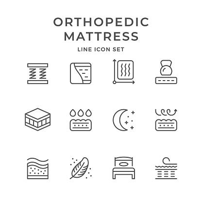 Set line icons of orthopedic mattress
