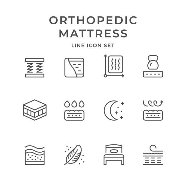 ilustraciones, imágenes clip art, dibujos animados e iconos de stock de iconos de la línea set de colchón ortopédico - comfortable