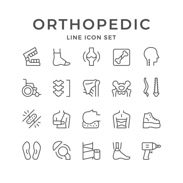 Set line icons of orthopedics Set line icons of orthopedics isolated on white. Vector illustration physical therapy stock illustrations
