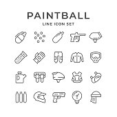 Set line icons of paintball isolated on white. Vector illustration