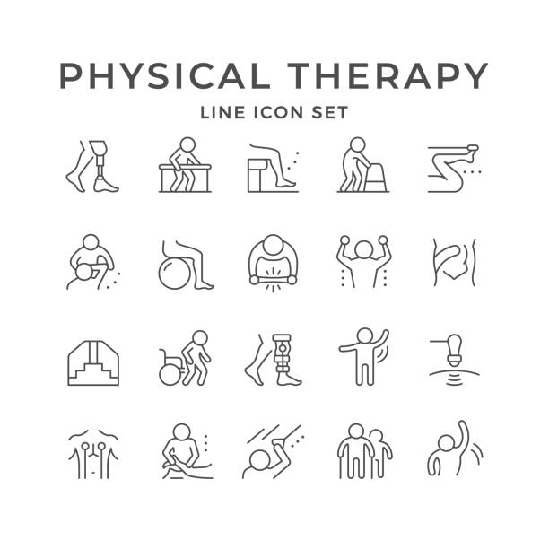 Set line icons of physical therapy Set line icons of physical therapy isolated on white. Health rehabilitation, physiotherapy exercise, kinesio tape, wheelchair, injury recovery, physiotherapist assistance massage. Vector illustration physical therapy stock illustrations