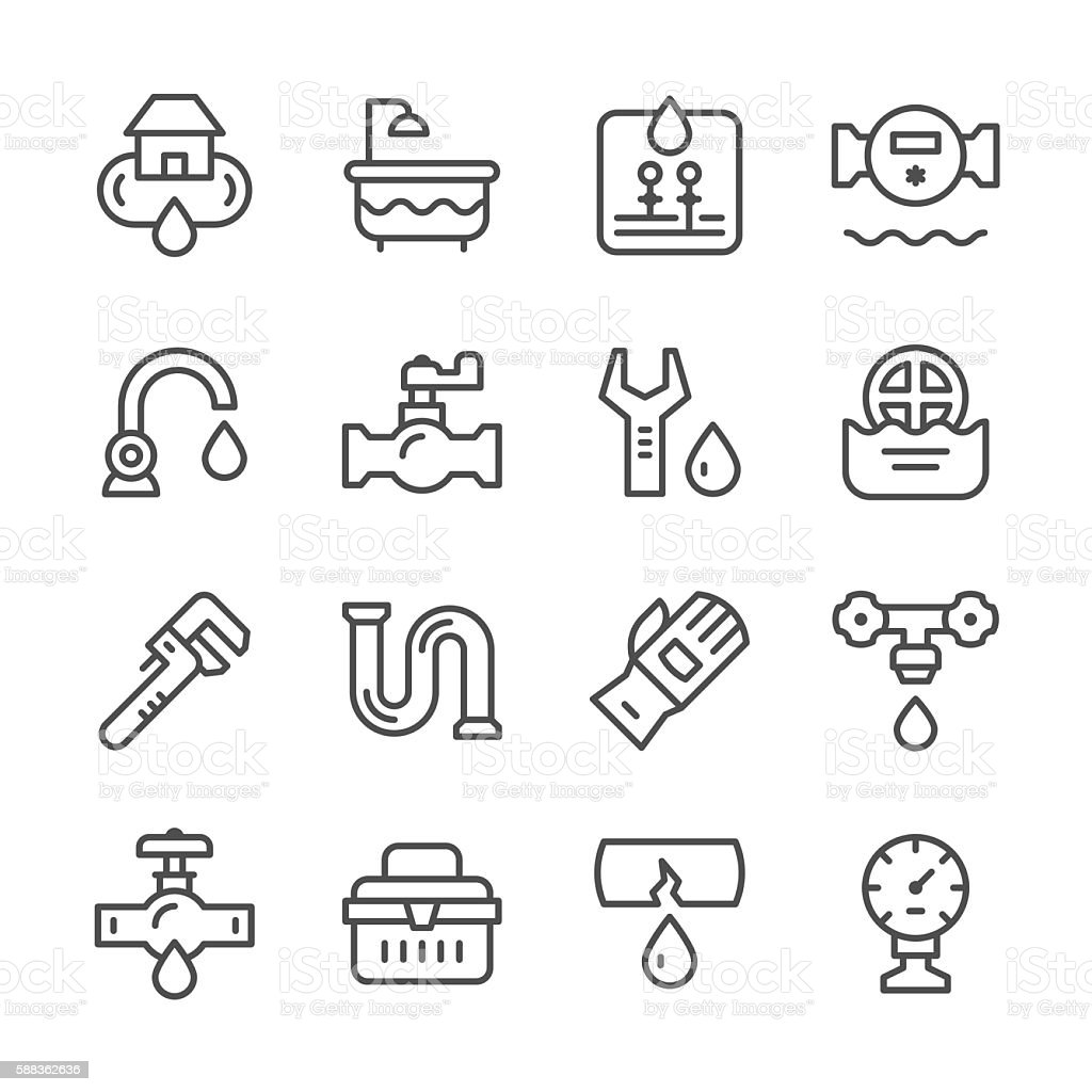 Set line icons of plumbing vector art illustration