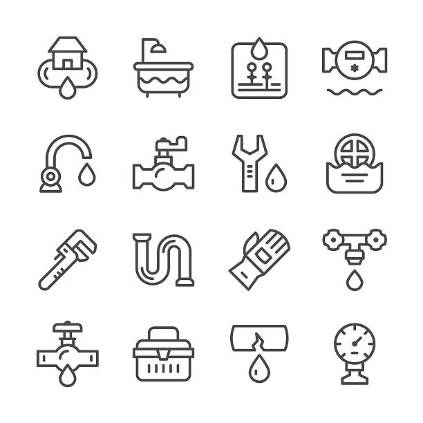 set line icons of plumbing - 配管工点のイラスト素材/クリップアート素材/マンガ素材/アイコン素材