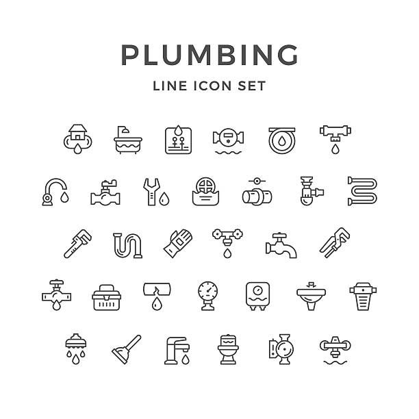 set line icons of plumbing - plumber stock illustrations, clip art, cartoons, & icons