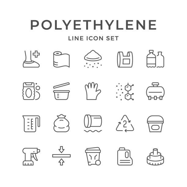 stockillustraties, clipart, cartoons en iconen met lijn iconen van polyethyleen of polytheen instellen - membraan