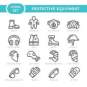 Set line icons of protecting equipment