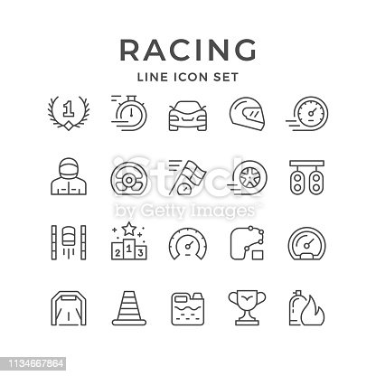 Set line icons of racing isolated on white. Vector illustration
