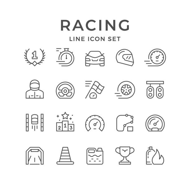 set line icons of racing - race stock illustrations