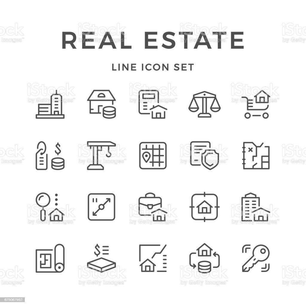 Set de iconos de la línea de bienes raíces - ilustración de arte vectorial