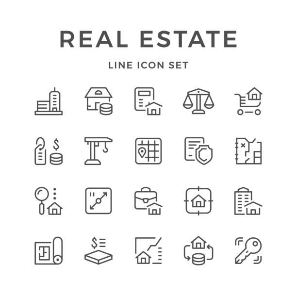 ilustraciones, imágenes clip art, dibujos animados e iconos de stock de set de iconos de la línea de bienes raíces - hipotecas y préstamos