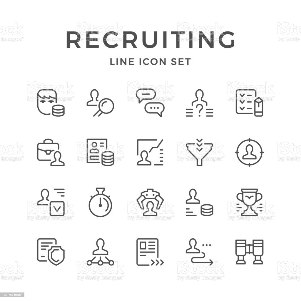 Set line icons of recruiting vector art illustration