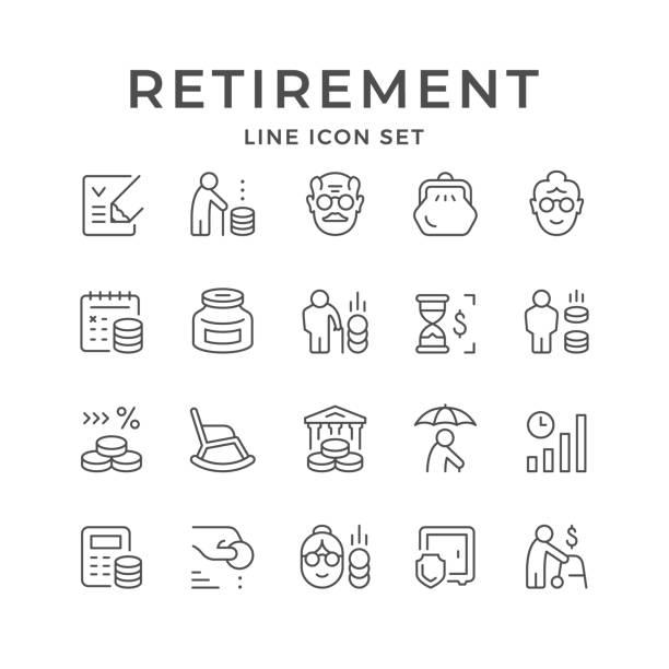 ilustrações, clipart, desenhos animados e ícones de definir ícones de linha de aposentadoria ou pensão - idoso