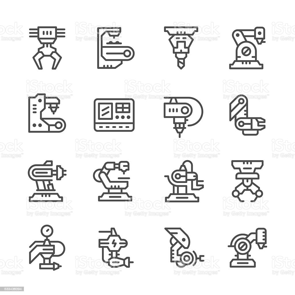 Set line icons of robotic industry vector art illustration