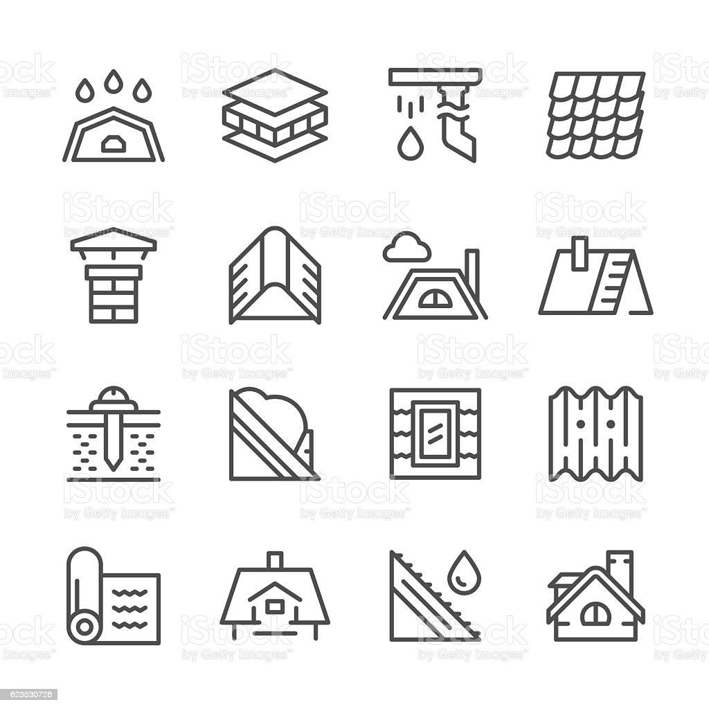 Set Line Icons Of Roof Stock Vektor Art Und Mehr Bilder Von