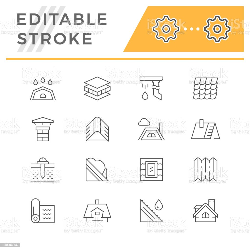 Set line icons of roof vector art illustration