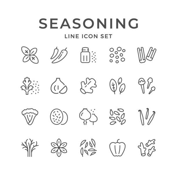 Set line icons of seasoning Set line icons of seasoning isolated on white. Vector illustration salt stock illustrations