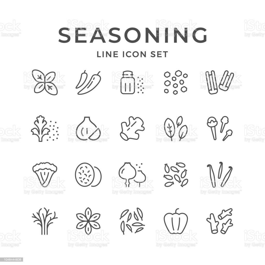 La ligne réglée icônes d'assaisonnement - Illustration vectorielle