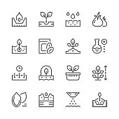 Set line icons of seed and seedling