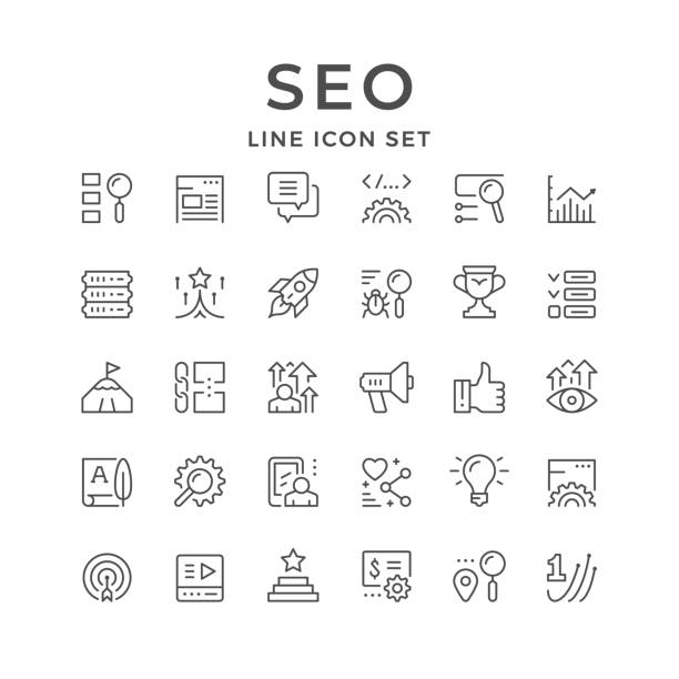 Set line icons of SEO Set line icons of SEO isolated on white. Search engine optimization, copywriting, launch, top position, video, text, link, website, first place, pay per click advertisement. Vector illustration copywriter stock illustrations