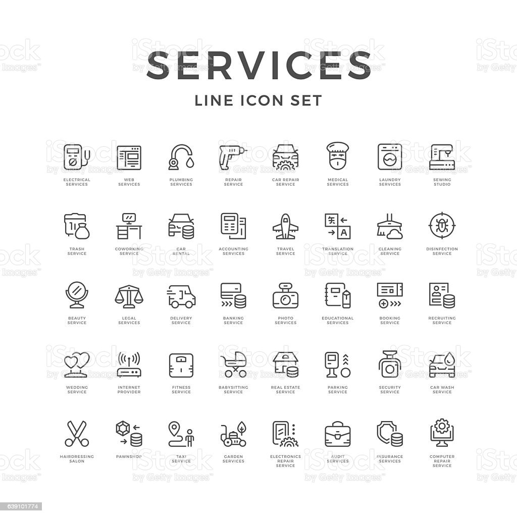 Set line icons of service vector art illustration