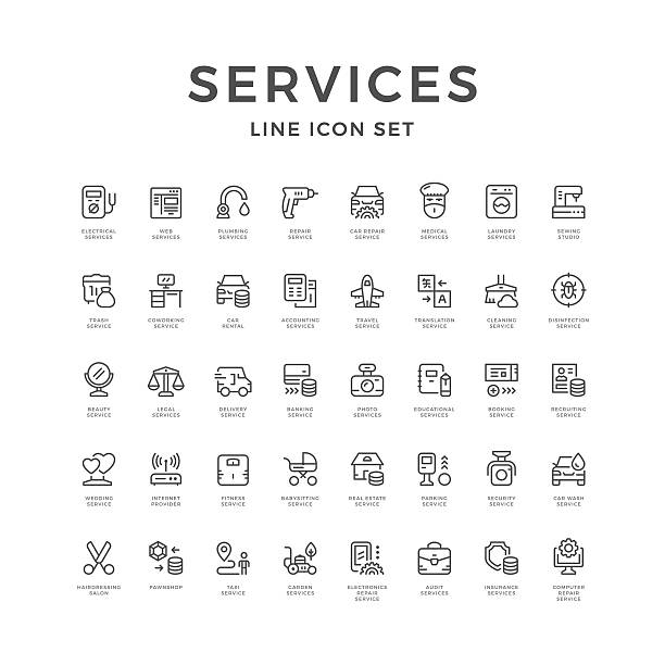Set line icons of service – Vektorgrafik