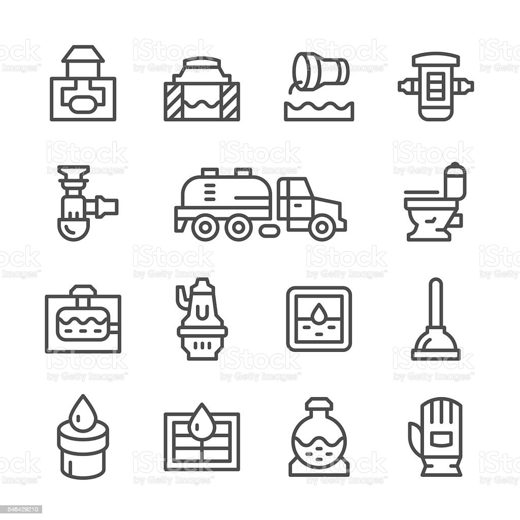 Set line icons of sewerage vector art illustration