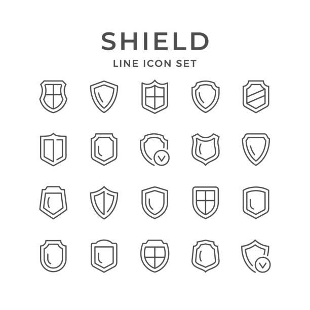 setzen sie zeilensymbole des schildes - abwehr stock-grafiken, -clipart, -cartoons und -symbole
