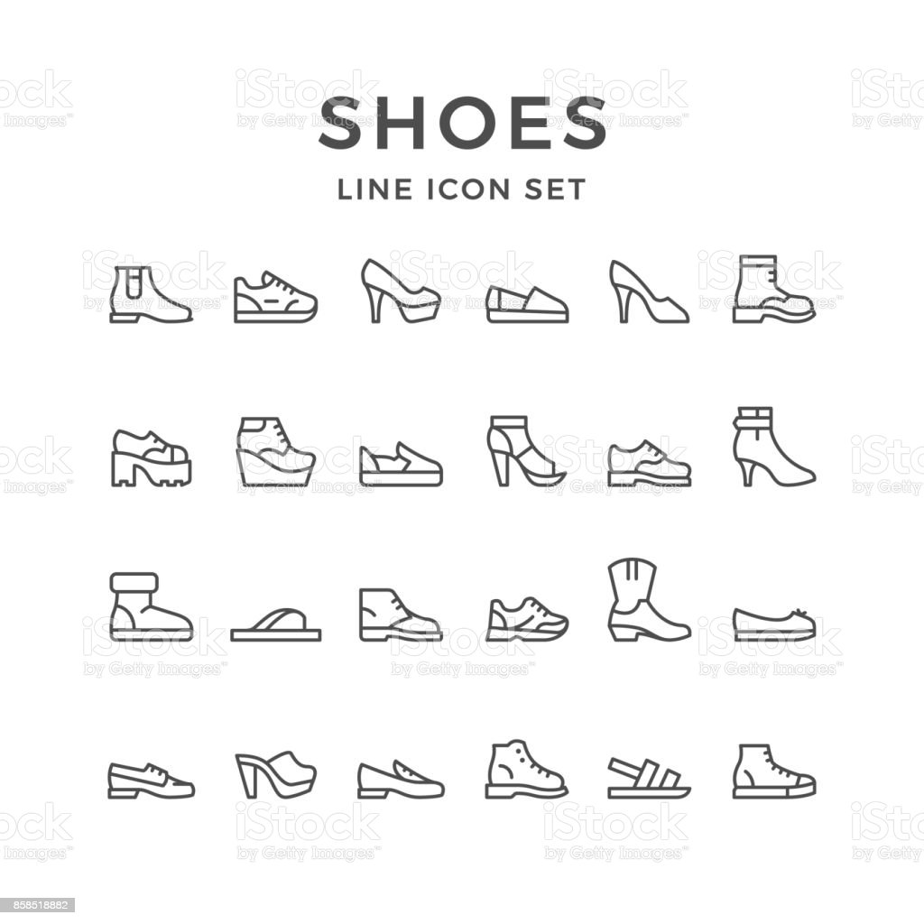 Set line icons of shoes vector art illustration