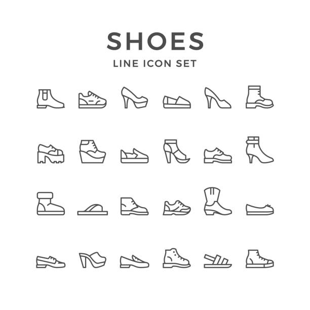 set line icons of shoes - shoes fashion stock illustrations, clip art, cartoons, & icons