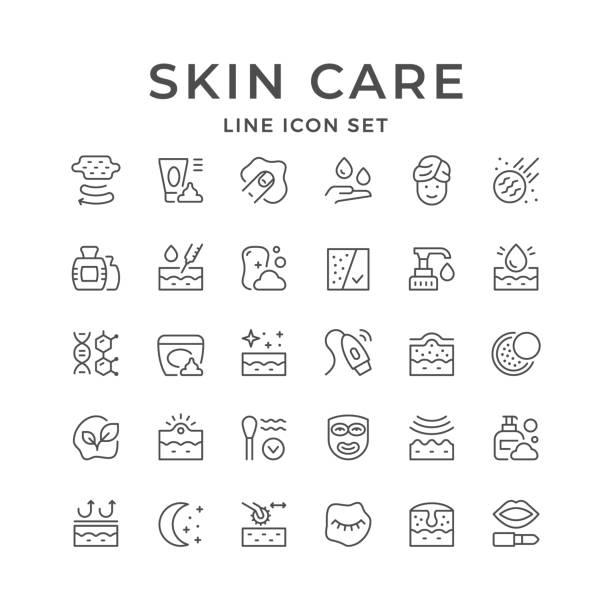スキンケアのラインアイコンを設定 - スキンケア点のイラスト素材/クリップアート素材/マンガ素材/アイコン素材