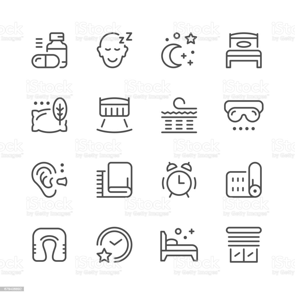 Set line icons of sleep vector art illustration