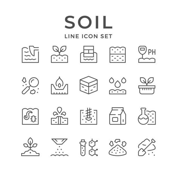 illustrations, cliparts, dessins animés et icônes de définir des icônes de ligne de sol - sol caractéristiques d'une construction
