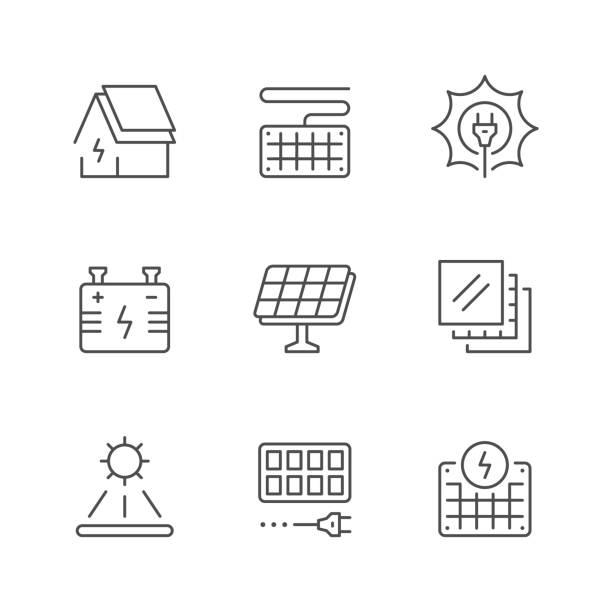 ilustrações de stock, clip art, desenhos animados e ícones de set line icons of solar panels - solar panel