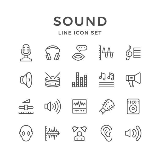 stockillustraties, clipart, cartoons en iconen met set lijn iconen van geluid - drum