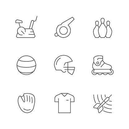 Set line icons of sport equipment