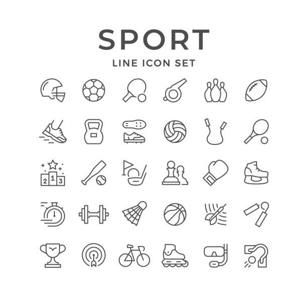 Set line icons of sport Set line icons of sport isolated on white. Vector illustration shuttlecock stock illustrations