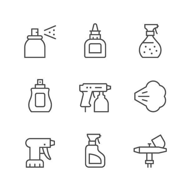 illustrazioni stock, clip art, cartoni animati e icone di tendenza di set line icons of spray - spruzzo profumo