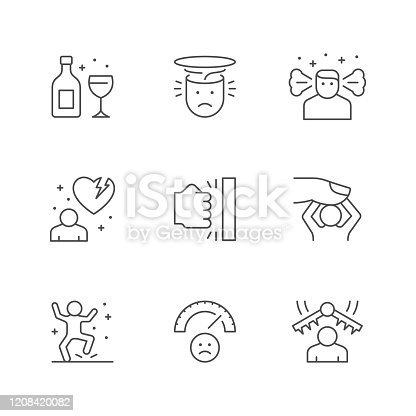 Set line icons of stress and depression isolated on white. Anger, rage, relationship problem, emotional pressure, angry person, psychotherapy, anxiety, frustration. Vector illustration
