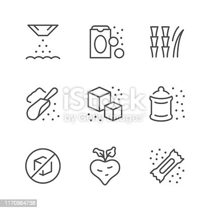 Set line icons of sugar isolated on white. Vector illustration