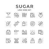 Set line icons of sugar isolated on white. Sweetener, stick, raw material, processing plant, candy. Vector illustration