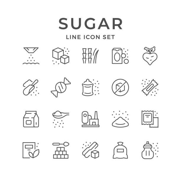 Set line icons of sugar Set line icons of sugar isolated on white. Sweetener, stick, raw material, processing plant, candy. Vector illustration candy icons stock illustrations