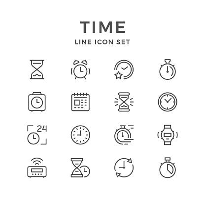 Ilustración de Iconos De Sistema De Línea De Tiempo y más Vectores Libres de Derechos de 24 Hrs - Frase corta