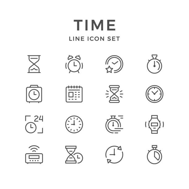 Set line icons of time vector art illustration