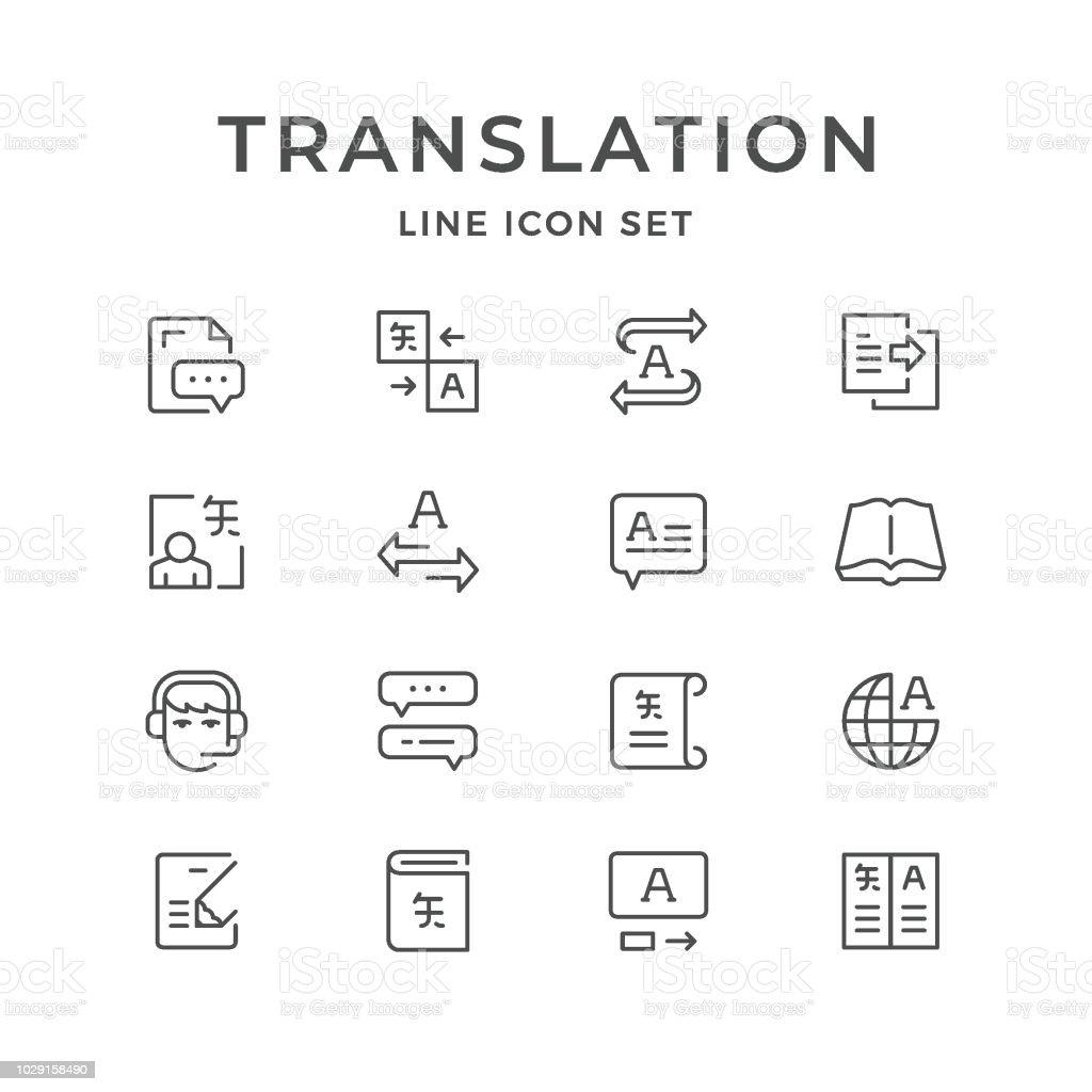 Setzleitung Ikonen der Übersetzung – Vektorgrafik
