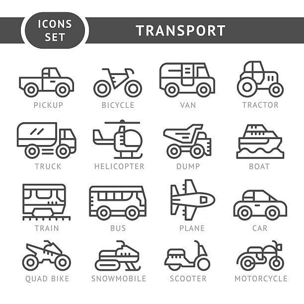 Set line icons of transport Set line icons of transport isolated on white. This illustration - EPS10 vector file. quadbike stock illustrations