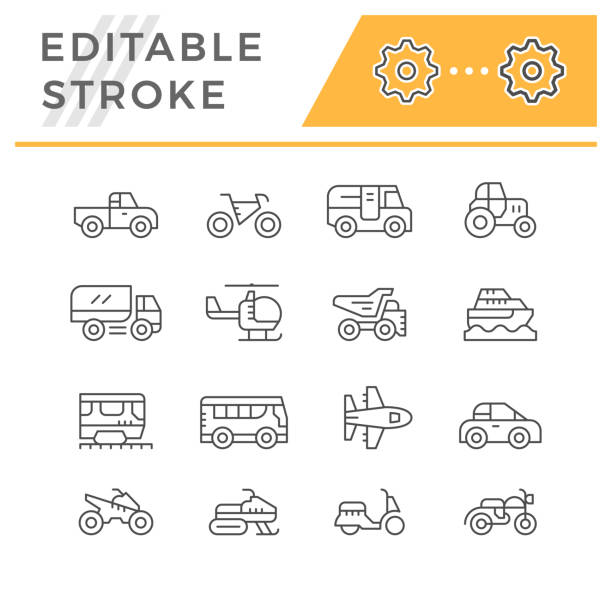 Set line icons of transport Set line icons of transport isolated on white. Editable stroke. Vector illustration quadbike stock illustrations